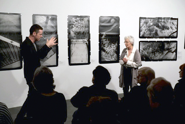 Shaune Lakin, Director of the Monash Gallery of Art, speaking to the photographer Joyce Evans