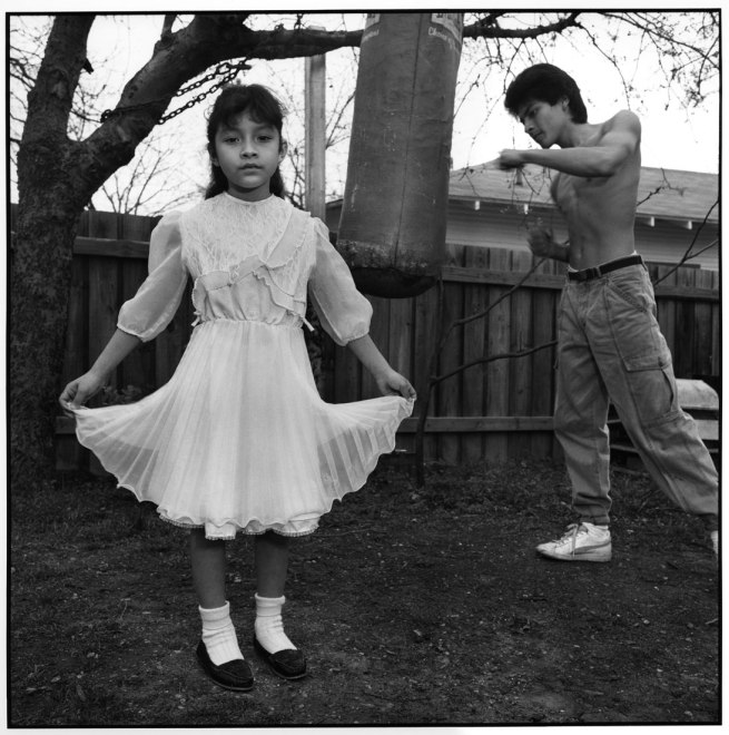 Mary Ellen Mark (American, b. 1940) 'Hispanic Girl with Her Brother, Dallas, Texas' From the series 'Urban Poverty' 1987, print c. 1991 by Sarah Jenkins