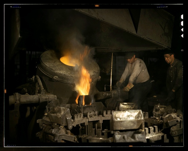 Alfred Palmer. 'Casting a billet from an electric furnace, Chase Brass and Copper Co., Euclid, Ohio' February 1942