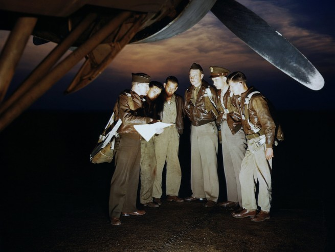 Alfred Palmer. 'Here's our mission. A combat crew receives final instructions just before taking off in a mighty YB-17 bomber from a bombardment squadron base at the field, in Langley Field, Virginia, in May of 1942' May 1942