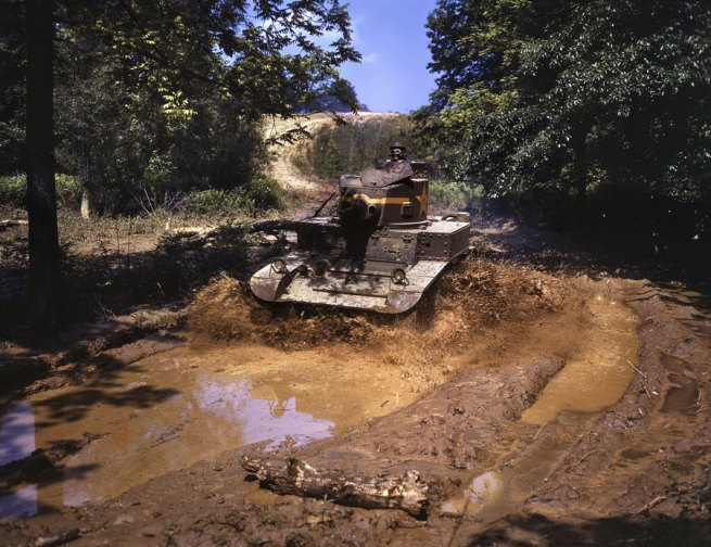 Alfred Palmer. 'Light tank going through water obstacle. Fort Knox, June 1942' June 1942