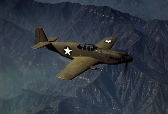 "Alfred Palmer. 'P-51 ""Mustang"" fighter in flight' October 1942"