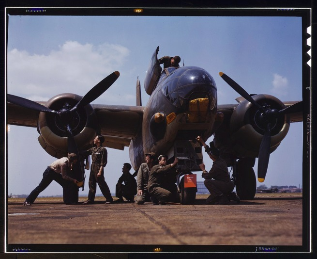 Alfred Palmer. 'Servicing an A-20 bomber, Langley Field, Va.' July 1942