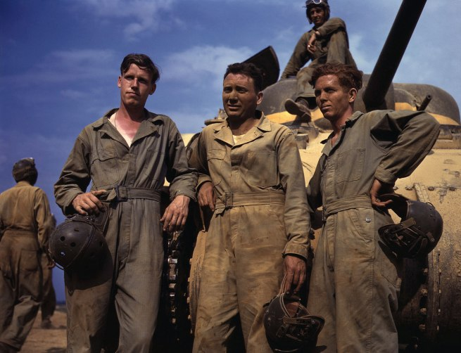 Alfred Palmer. 'Tank crew standing in front of M-4 tank, Ft. Knox, Kentucky, June, 1942' June, 1942