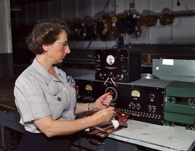 Alfred Palmer. 'Testing electric wiring at Douglas Aircraft Company. Long Beach, California' October 1942