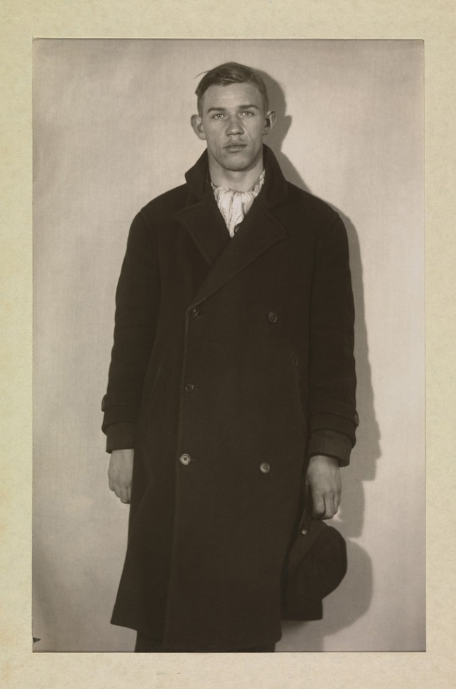 August Sander (1876-1964) 'Unemployed Man in Winter Coat, Hat in Hand' 1920