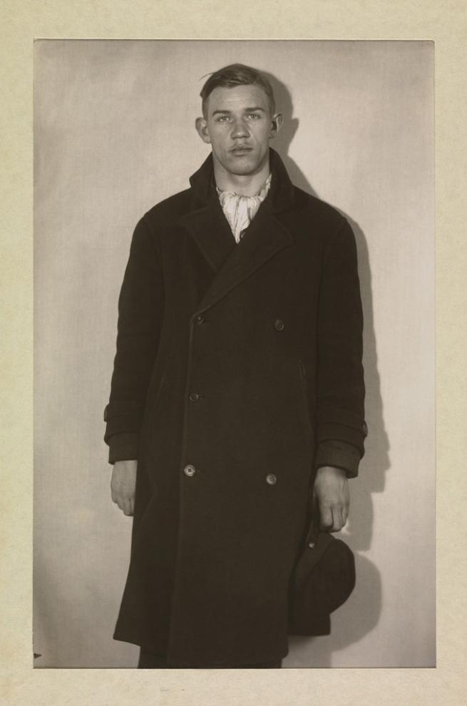 August Sander (1876-1964) 'Unemployed Man in Winter Coat, Hat in Hand' 1920