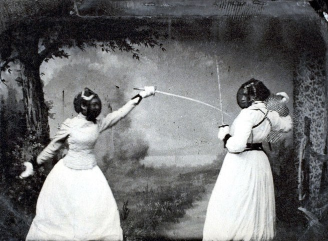 Unidentified Photographer. 'Two women fencing' June 16, 1891