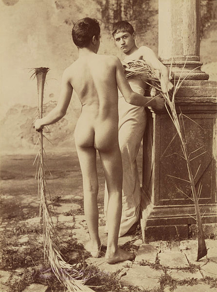 Wilhelm von Gloeden (1856-1931) 'Two Male Youths Holding Palm Fronds' c. 1885-1905