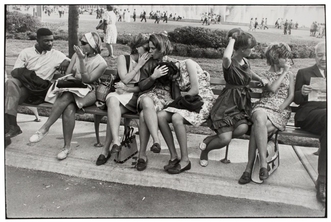 Garry Winogrand (American, 1928-1984) 'Untitled (Histrionics on a Bench, World's Fair, New York)' 1964