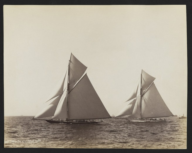 Nathaniel Livermore Stebbins 1847-1922 (Photographer) 'America's Cup Race: Two minutes after start, Valkyrie & Vigilant' 1893-10-09