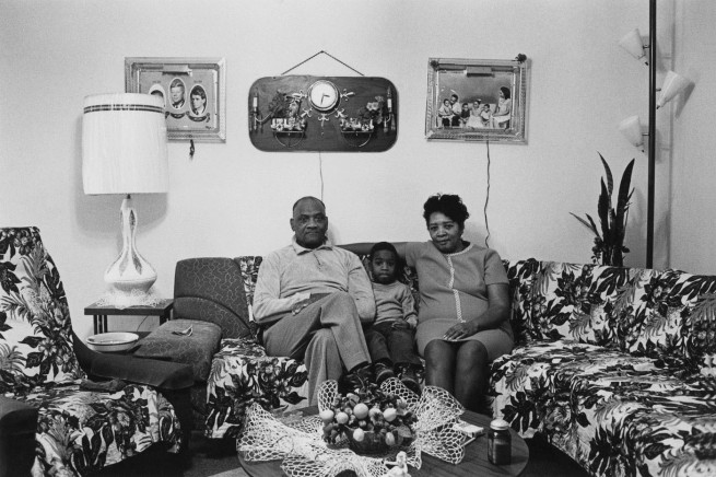Enrico Natali. 'Husband and wife at home with their youngest child, Detroit, 1968' 1968