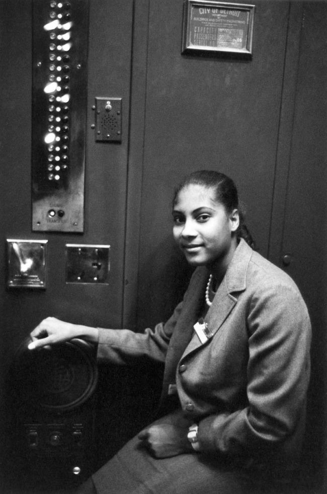 Enrico Natali. 'Elevator operator, Detroit, 1968' 1968