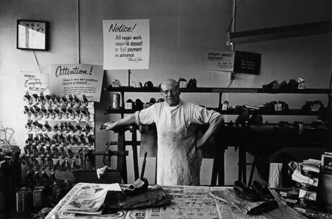 Enrico Natali. 'Shoe repair shop owner, Detroit, 1968' 1968