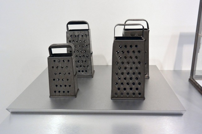 Haim Steinbach. 'Untitled (graters, Victorian iron banks)' 1990 (installation view detail)