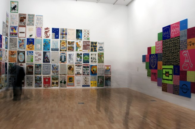 Installation view of Jon Campbell. 'DUNNO (T. Towels)' 2012 (left) and Reko Rennie 'Initiation', 2013 (right)