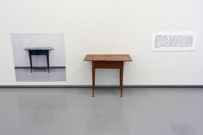 Joseph Kosuth. 'One and three tables' 1965 (installation view)