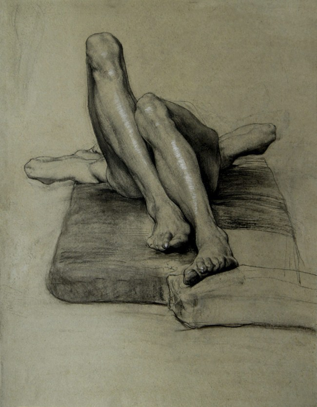 Sascha Schneider. 'Untitled (study of a reclining male nude with tucked up legs)' 1894