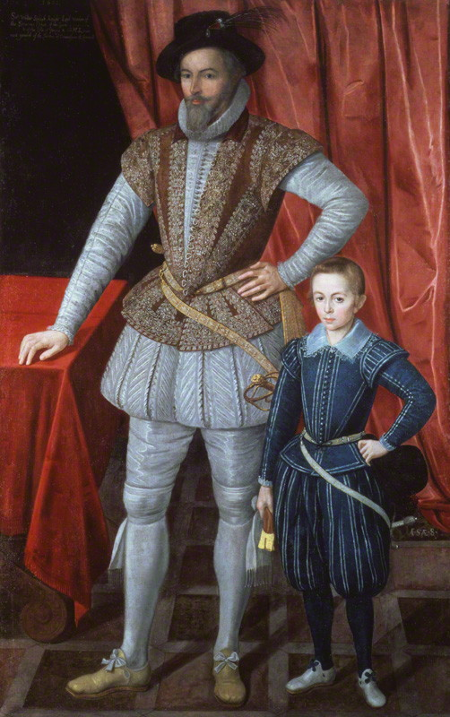 Unknown artist. 'Sir Walter Ralegh and son' 1602
