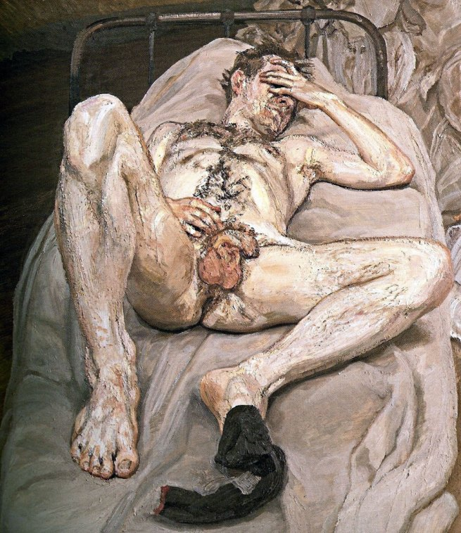 Lucian Freud. 'Naked Man on Bed' 1989