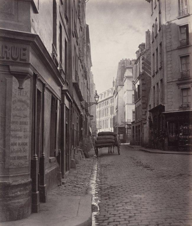 Charles Marville. 'Rue de la Bûcherie, from the cul de sac Saint-Ambroise (fifth arrondissement)' 1866-1868