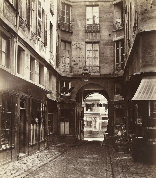 Charles Marville. 'Passage Saint-Guillaume (vers la rue Richelieu) (first arrondissement)' 1863-1865