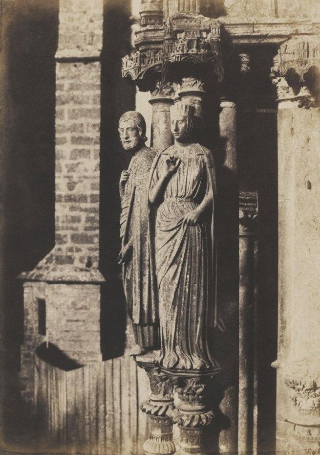 Charles Marville. 'Cathédrale de Chartres, Grandes Figures des pilastres du portail septentrional' (Chartres Cathedral, Columnar Figures, Northern Portal) 1854