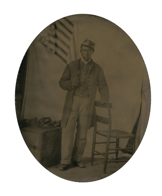 Unknown photographer. 'Private Abraham F. Brown' (with overmat) 1863