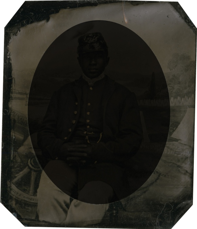 Unknown photographer. 'Private Abraham F. Brown' (inverted with overmat to show background extraneous to portrait) 1863