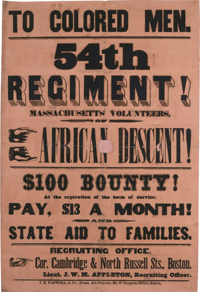 J. E. Farwell and Co. 'To Colored Men. 54th Regiment! Massachusetts Volunteers, of African Descent' 1863