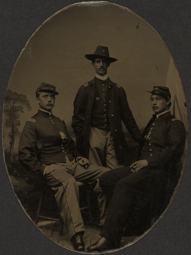 Unknown photographer. 'Second Lieutenant Ezekiel G. Tomlinson, Captain Luis F. Emilio, and Second Lieutenant Daniel Spear' October 12, 1863
