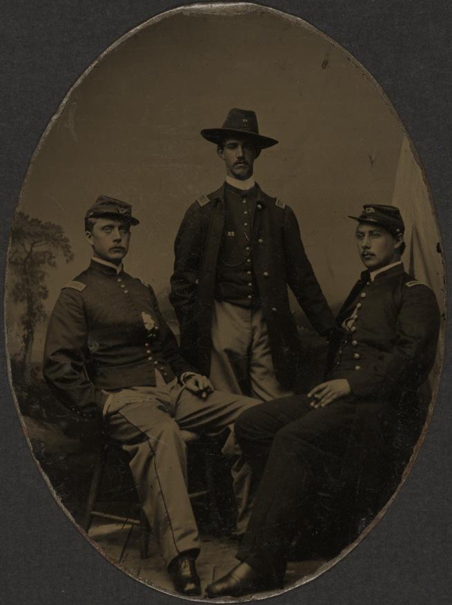 Unknown photographer. 'Second Lieutenant Ezekiel G. Tomlinson, Captain Luis F. Emilio, and Second Lieutenant Daniel Spear' October 12, 1863
