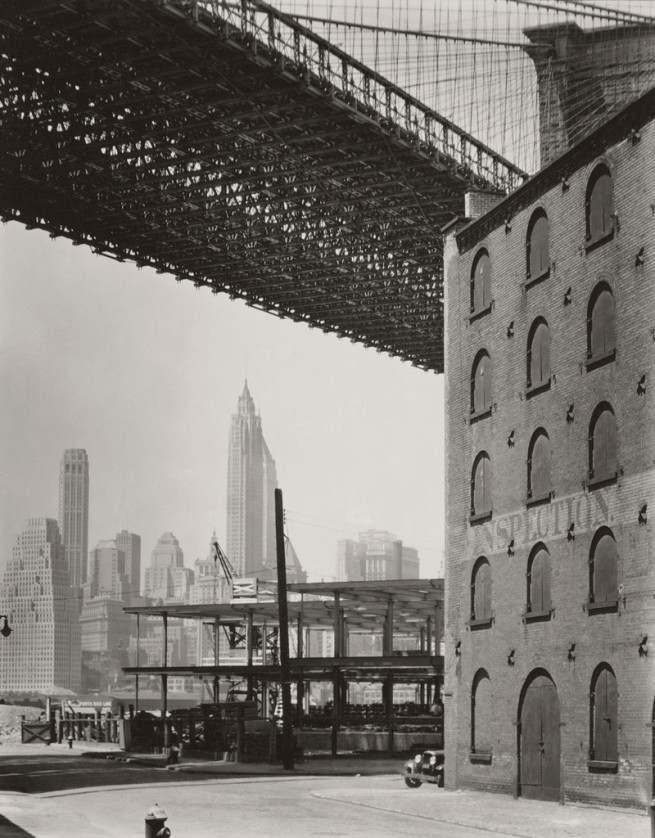 Berenice Abbott (born Springfield, OH 1898-died Monson, ME 1991) 'Brooklyn Bridge, Water and Dock Streets, Brooklyn' 1936