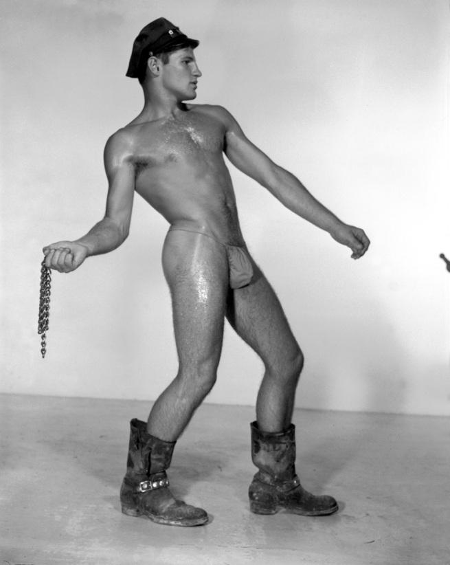 Bob Mizer. 'Untitled [Larry Lamb, Profile with Chains], Los Angeles' c. 1959