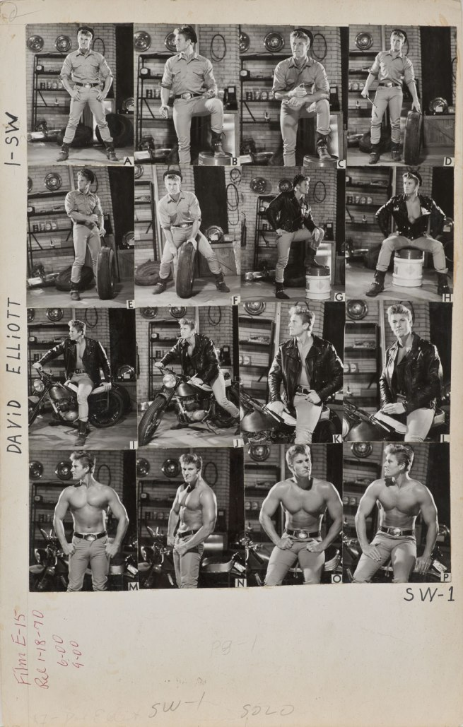 Bob Mizer. 'Athletic Model Guild Catalog Board, David Elliott. [Double-sided; This side Page 1 of SW series]' c. 1965