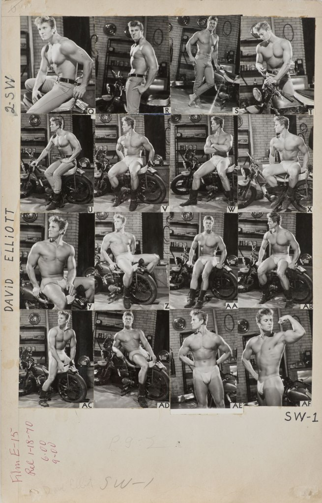 Bob Mizer. 'Athletic Model Guild Catalog Board, David Elliott. [Double-sided; This side Page 2 of SW series]' c. 1965