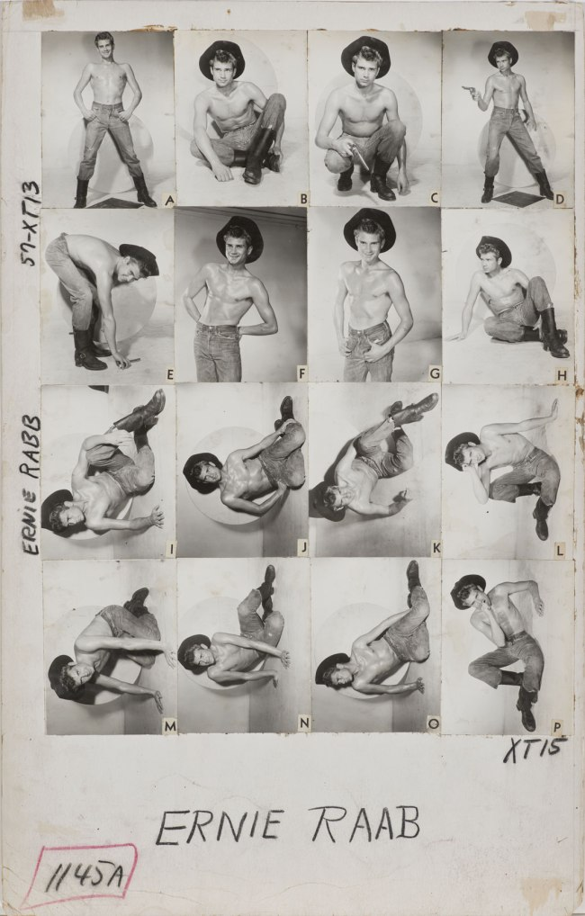 Bob Mizer. 'Athletic Model Guild Catalog Board, Ernie Rabb. [Double-sided; This side Page 57 of XT series]' c. 1957