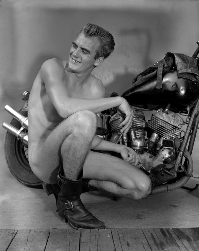 Bob Mizer. 'Untitled [Ray Hornsby, Motorcycle], Los Angeles' c. 1957