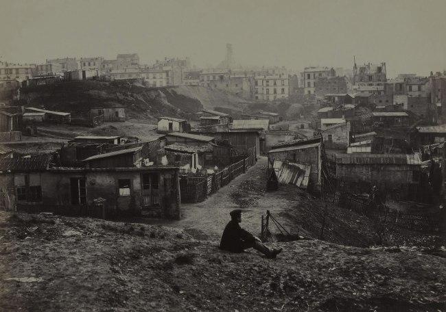 Charles Marville. 'Haut de la rue Champlain (vue prise à droit) (Top of the rue Champlain) (View to the Right) (twentieth arrondissement)' 1877-1878