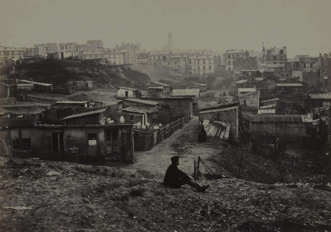 Charles Marville. 'Haut de la rue Champlain (vue prise à droit) (Top of the rue Champlain) (View to the Right) (twentieth arrondissement)' 1877-1878