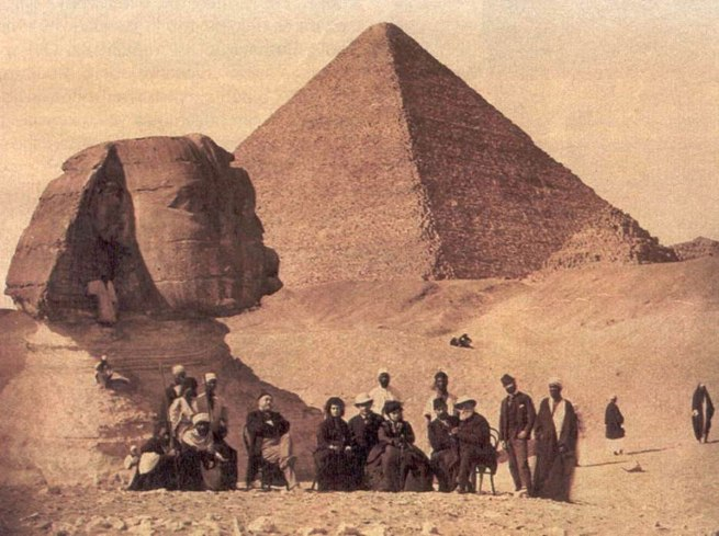 H. Delie and E. Bechard (French, active 1870s) 'Brazilian Emperor D. Pedro II, Empress D. Thereza Christina, and the Emperor's Retinue next to the Pyramids, Cairo, Egypt' 1871