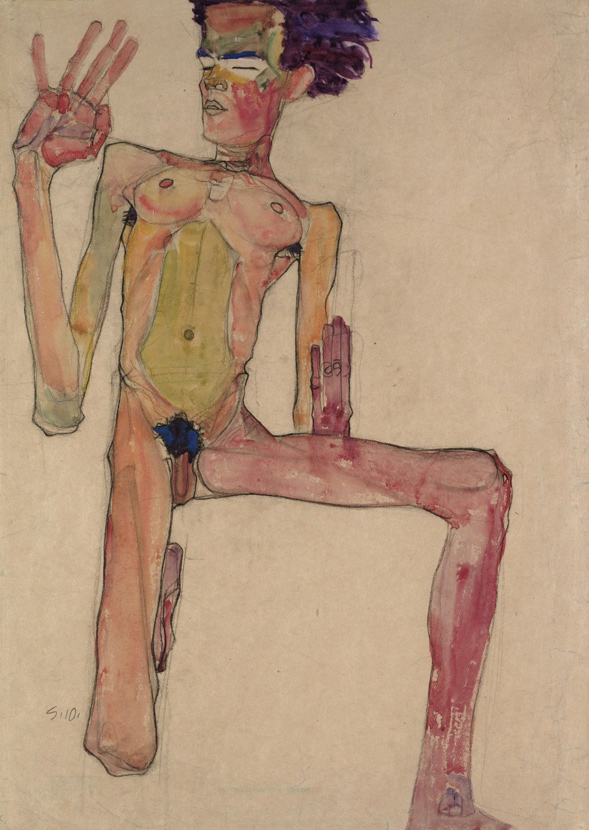 Egon Schiele. 'Self-Portrait, Kneeling' 1910