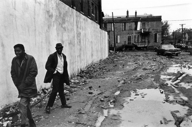 Enrico Natali. 'Pedestrians at the corner of Jefferson Avenue and Conners, Detroit, 1968' 1968