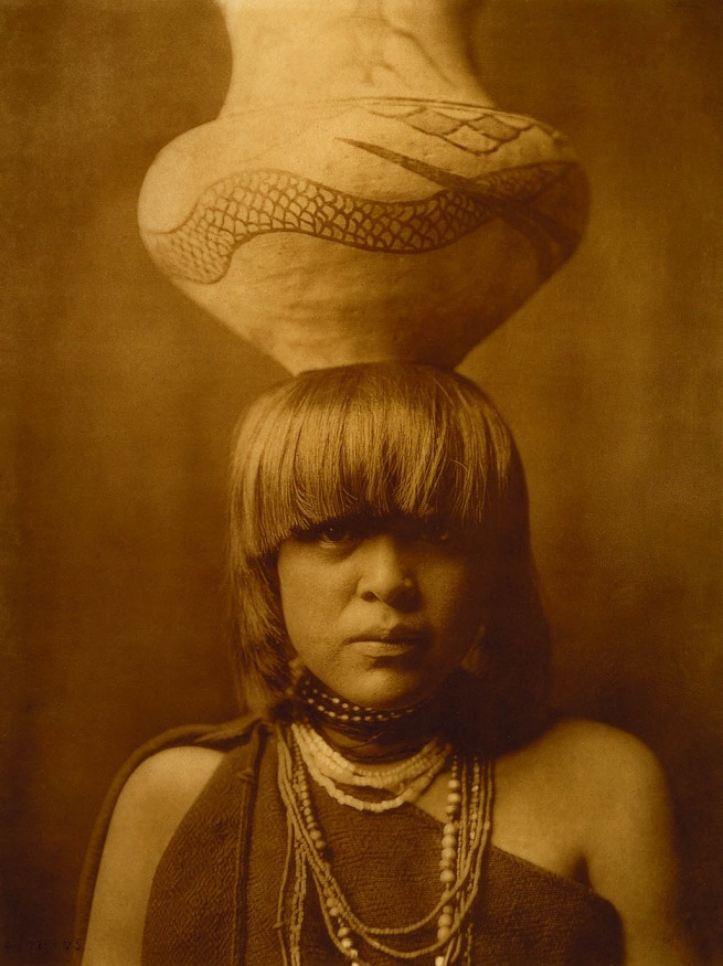 Edward S. Curtis. 'Girl and Jar - San Ildefonso' 1905