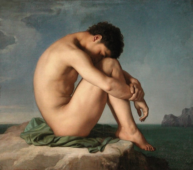 Hippolyte Flandrin (1809-1864) 'Nude Youth Sitting by the Sea, Study' 1836