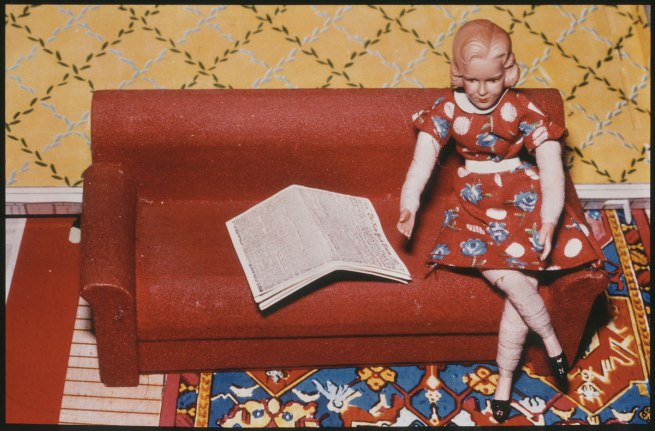 Laurie Simmons (b. 1949) 'Woman/Red Couch/Newspaper' 1978
