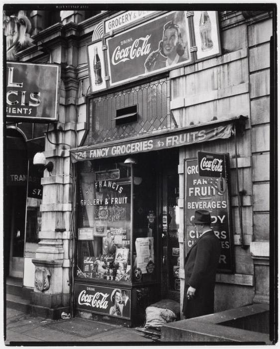 Brett Weston (American, 1911-1993) '[St. Francis Grocery & Fruit, New York]' c. 1945