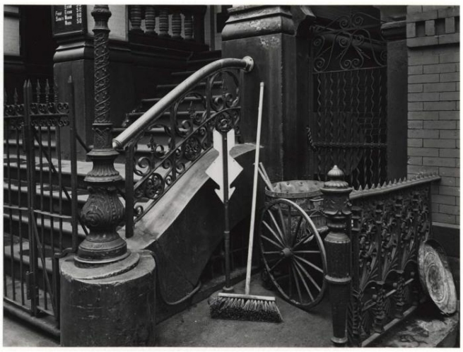 Brett Weston (American, 1911-1993) '[Stoop with broom, arrow, and pushcart, New York]' 1944