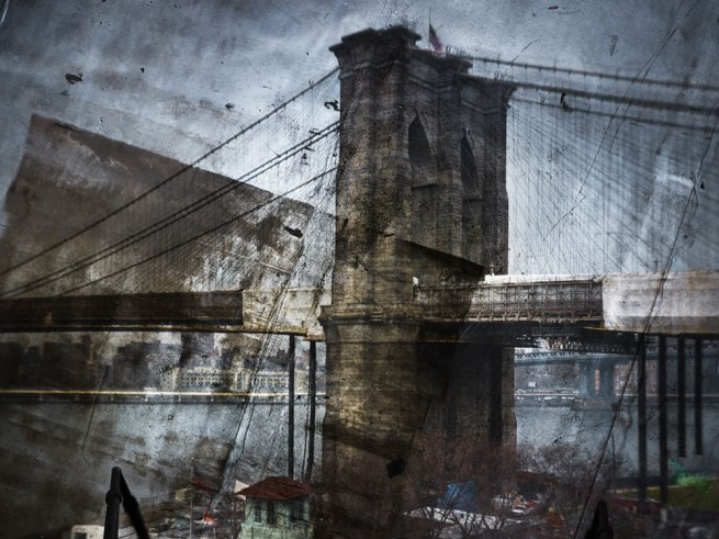 Abelardo Morell (American, born Cuba, 1948) 'Tent-Camera Image On Ground: Rooftop View Of The Brooklyn Bridge' 2010