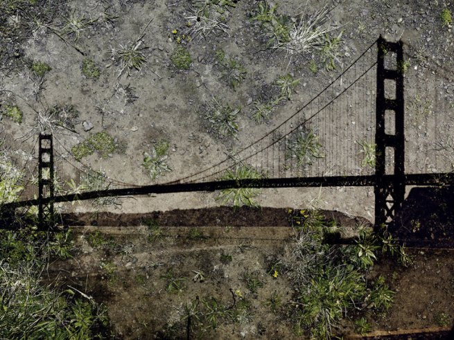 Abelardo Morell (American, born Cuba, 1948) 'Tent-Camera Image on Ground: View of the Golden Gate Bridge from Battery Yates' 2012
